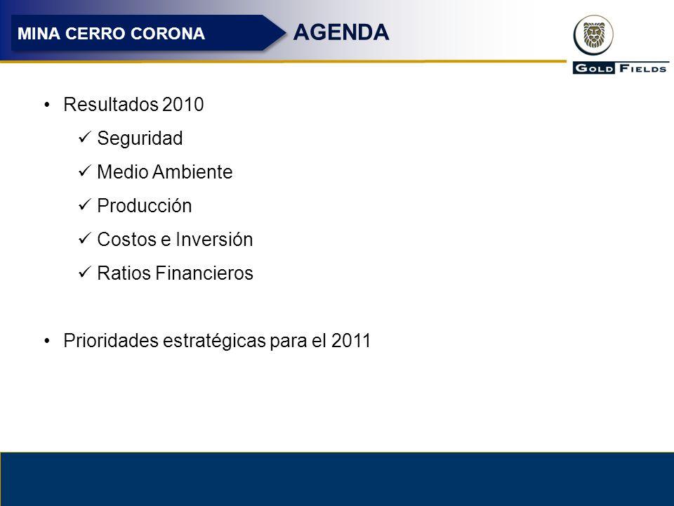 AGENDA Resultados 2010 Seguridad Medio Ambiente Producción