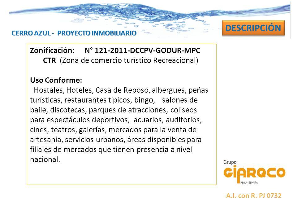 DESCRIPCIÓN Zonificación: N° 121-2011-DCCPV-GODUR-MPC