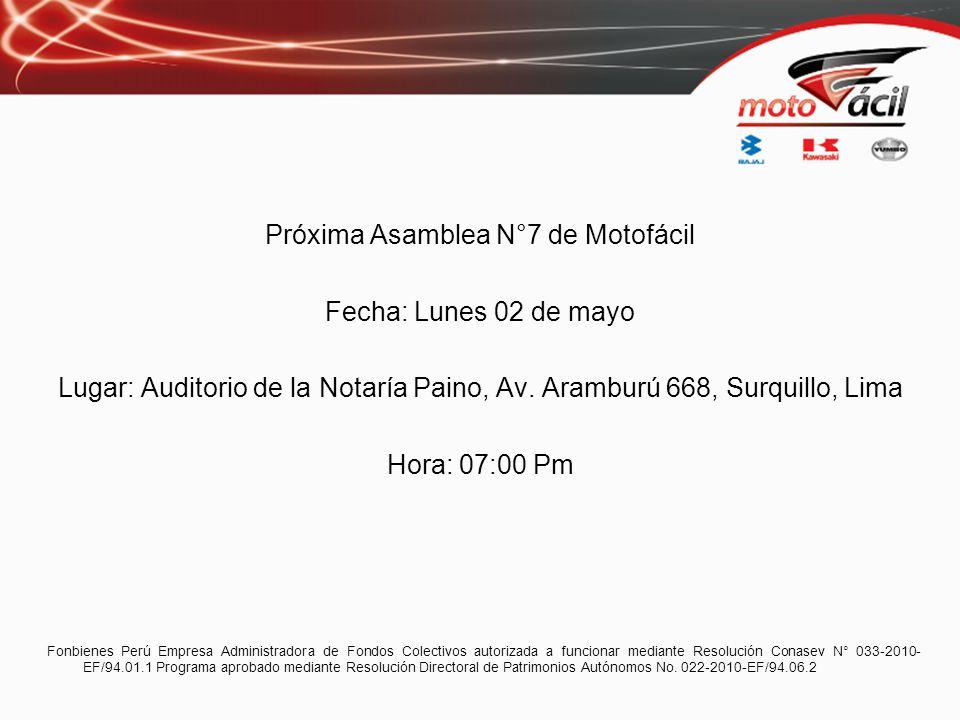 Próxima Asamblea N°7 de Motofácil Fecha: Lunes 02 de mayo Lugar: Auditorio de la Notaría Paino, Av. Aramburú 668, Surquillo, Lima Hora: 07:00 Pm