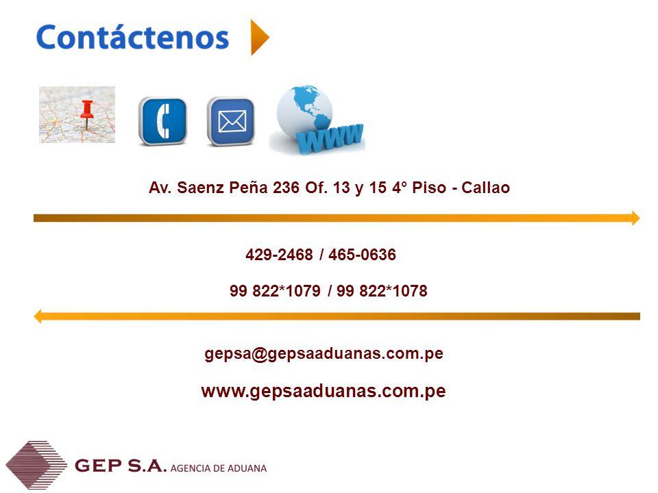Av. Saenz Peña 236 Of. 13 y 15 4° Piso - Callao