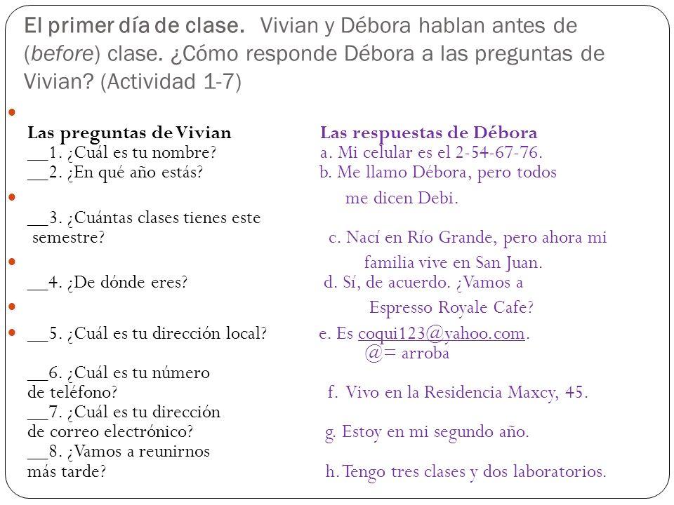 El primer día de clase. Vivian y Débora hablan antes de (before) clase