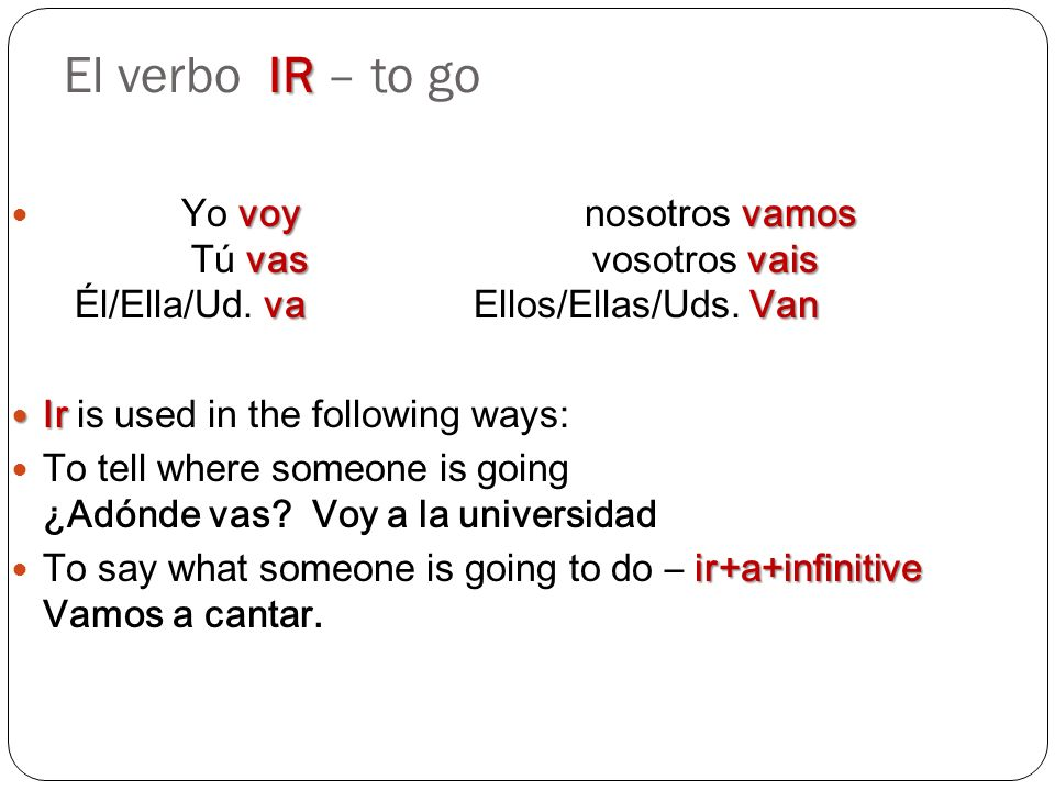 El verbo IR – to go