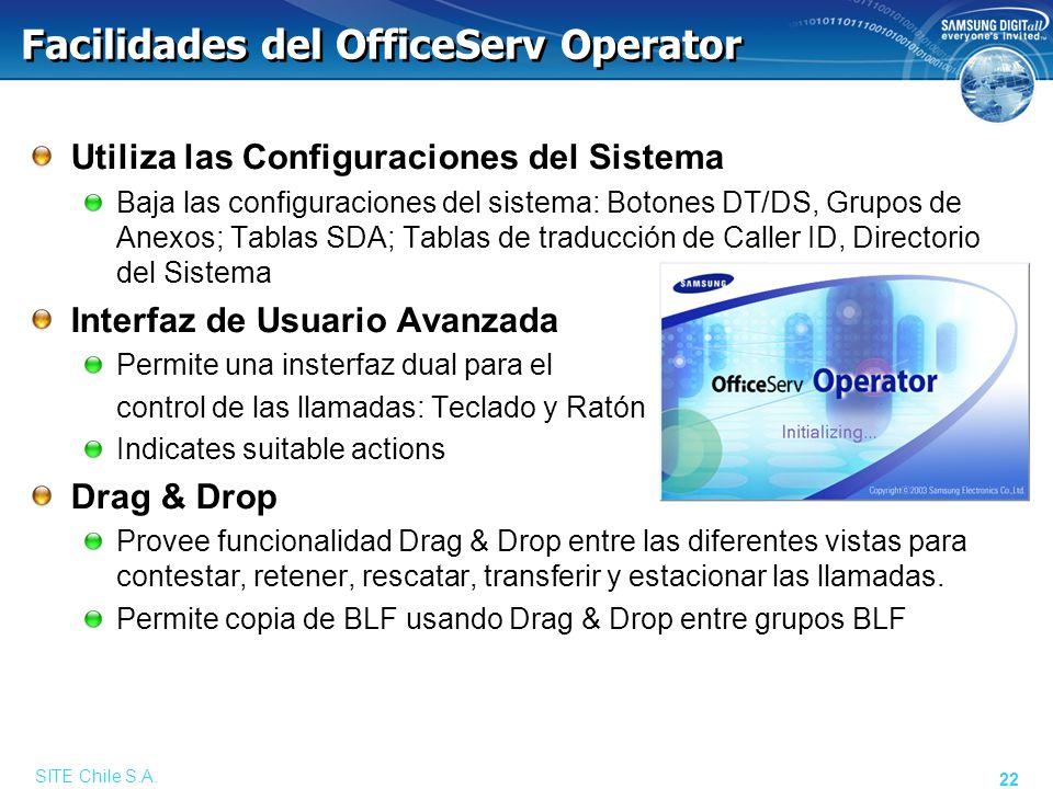 Facilidades del OfficeServ Operator