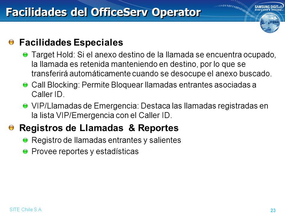 OfficeServ Operator Ventana Principal Ventana de Información