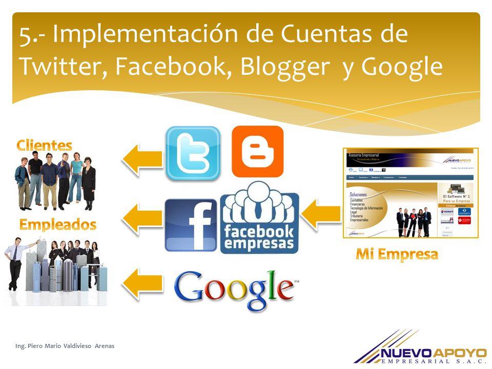 5.- Implementación de Cuentas de Twitter, Facebook, Blogger y Google