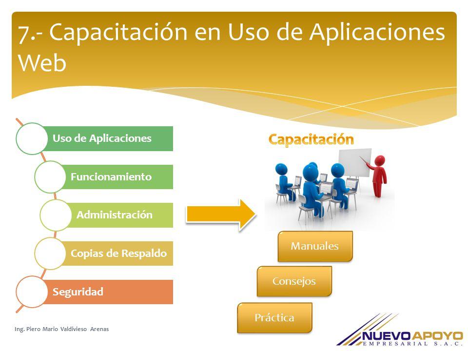 7.- Capacitación en Uso de Aplicaciones Web