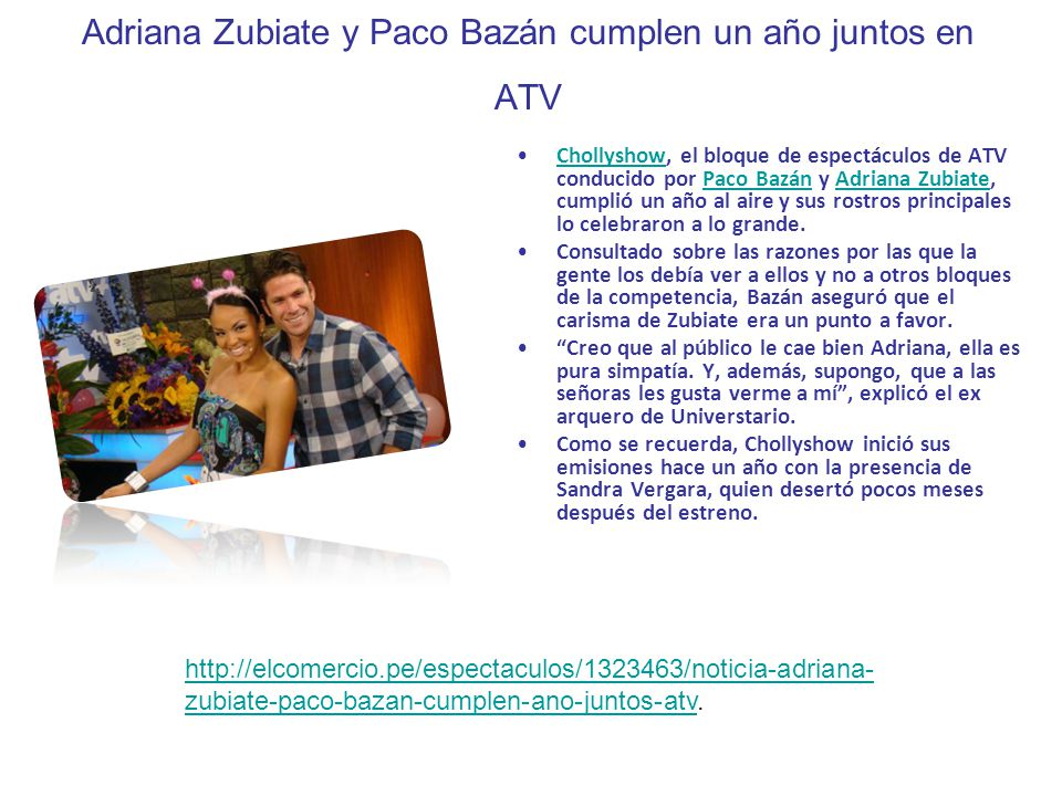 Adriana Zubiate y Paco Bazán cumplen un año juntos en ATV