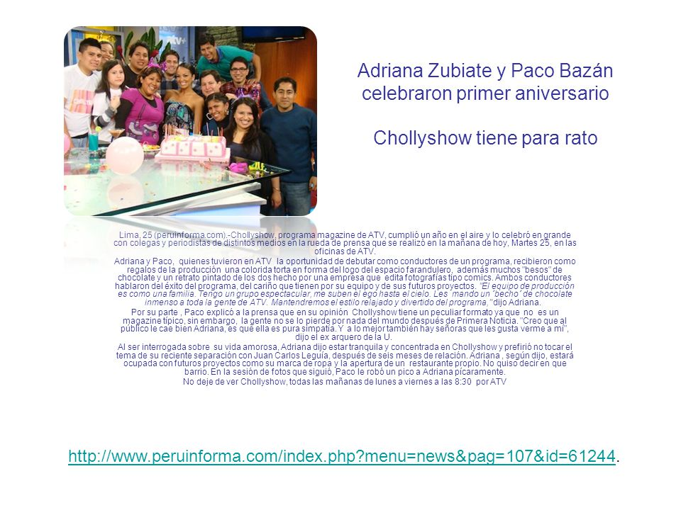 Adriana Zubiate y Paco Bazán celebraron primer aniversario Chollyshow tiene para rato