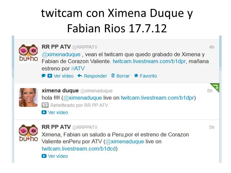 twitcam con Ximena Duque y Fabian Rios 17.7.12