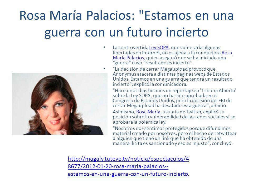 Rosa María Palacios: Estamos en una guerra con un futuro incierto