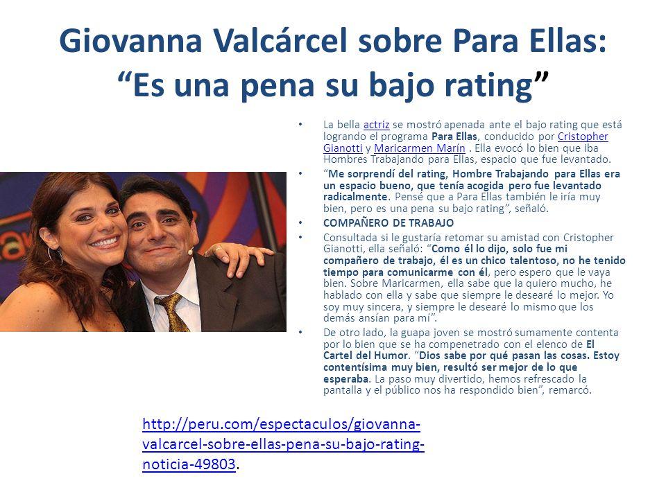 Giovanna Valcárcel sobre Para Ellas: Es una pena su bajo rating