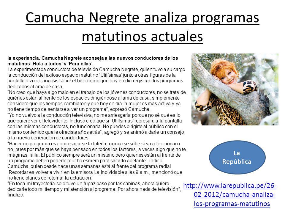 Camucha Negrete analiza programas matutinos actuales