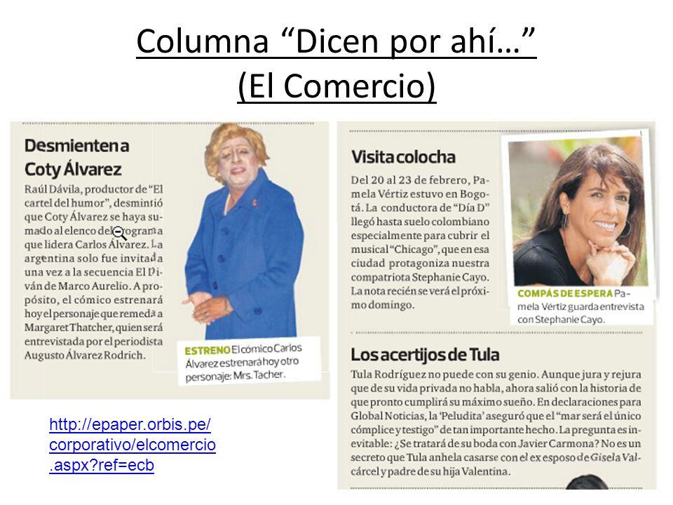 Columna Dicen por ahí… (El Comercio)
