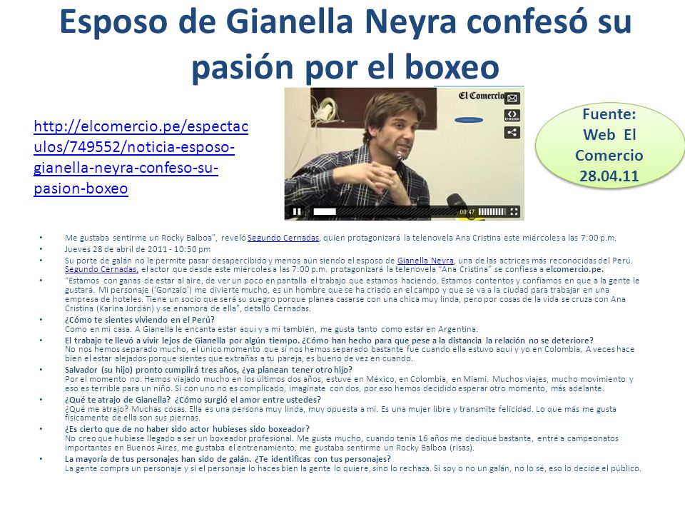 Esposo de Gianella Neyra confesó su pasión por el boxeo