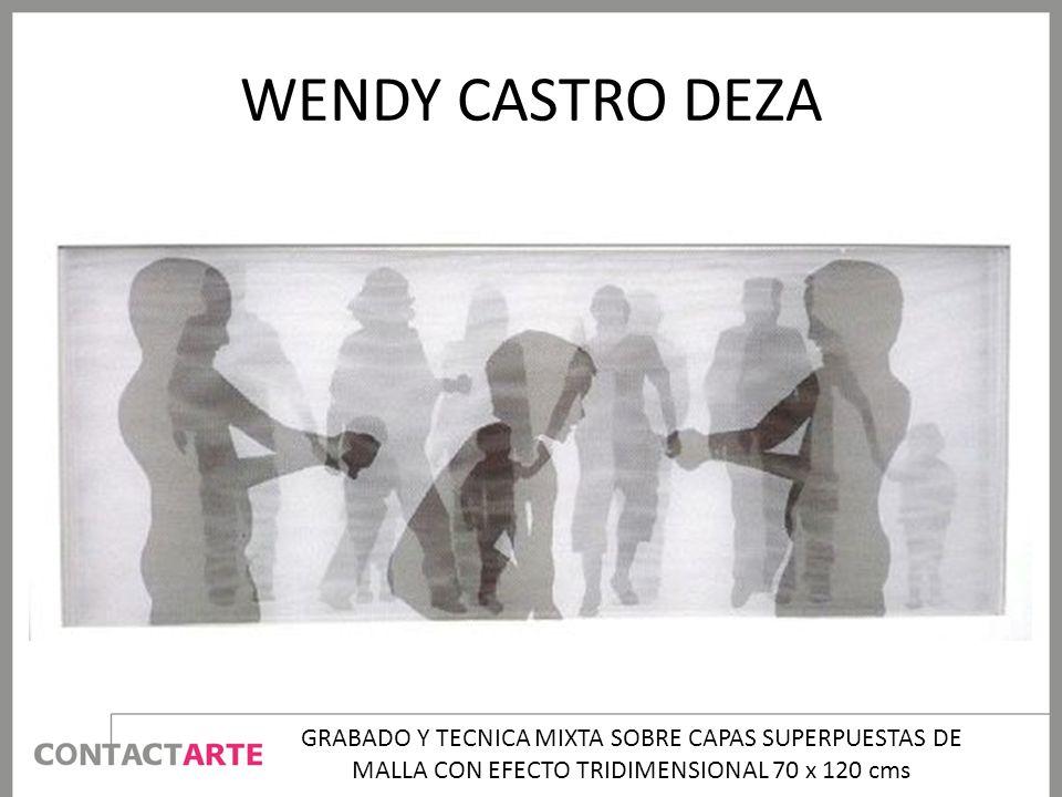 WENDY CASTRO DEZA GRABADO Y TECNICA MIXTA SOBRE CAPAS SUPERPUESTAS DE MALLA CON EFECTO TRIDIMENSIONAL 70 x 120 cms.