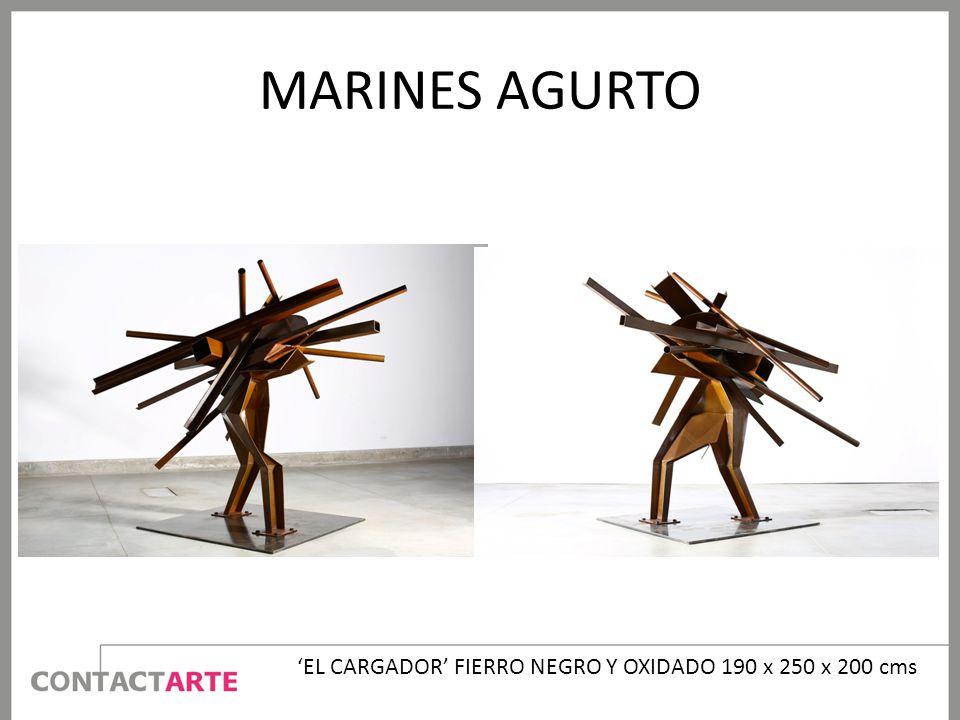 'EL CARGADOR' FIERRO NEGRO Y OXIDADO 190 x 250 x 200 cms