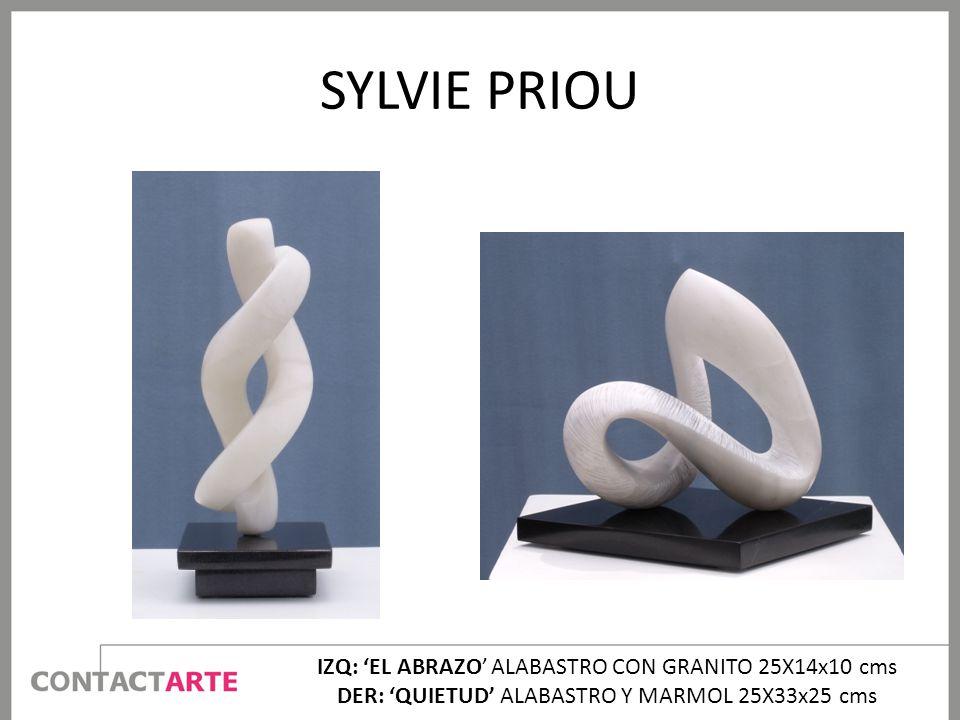 SYLVIE PRIOU IZQ: 'EL ABRAZO' ALABASTRO CON GRANITO 25X14x10 cms