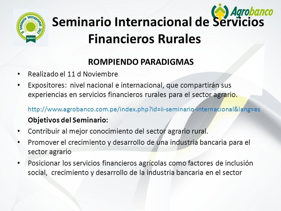 II Seminario Internacional de Servicios Financieros Rurales