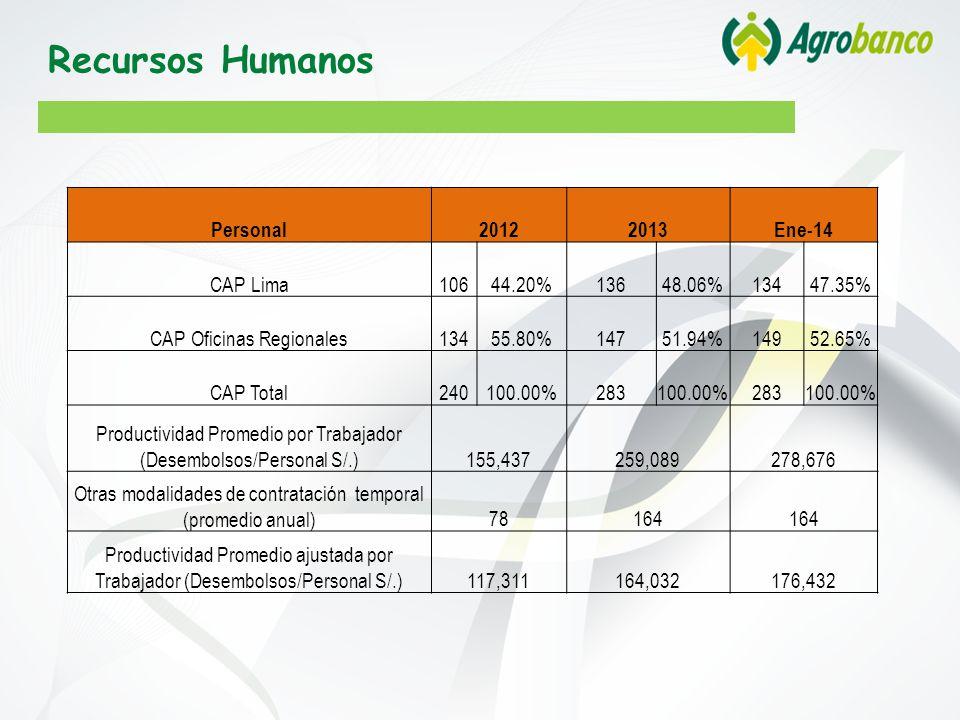 Recursos Humanos Personal 2012 2013 Ene-14 CAP Lima 106 44.20% 136