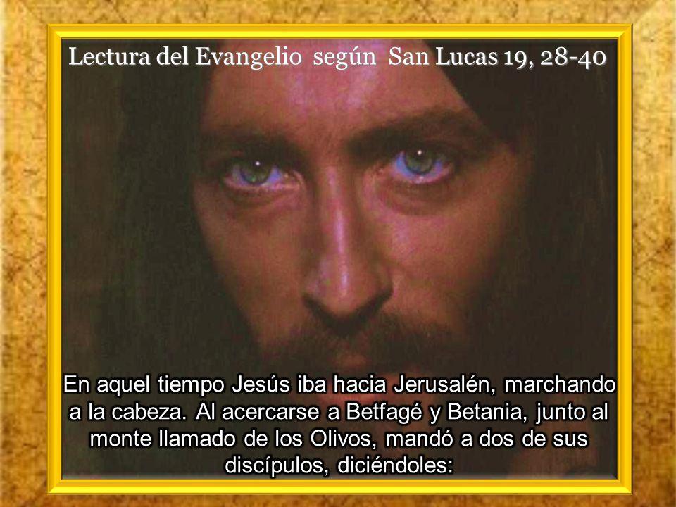 Lectura del Evangelio según San Lucas 19, 28-40