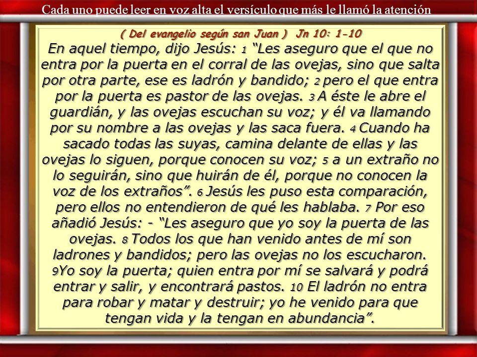 ( Del evangelio según san Juan ) Jn 10: 1-10