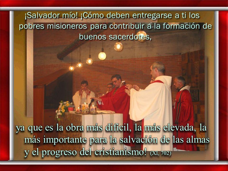 ¡Salvador mío! ¡Cómo deben entregarse a ti los pobres misioneros para contribuir a la formación de buenos sacerdotes,