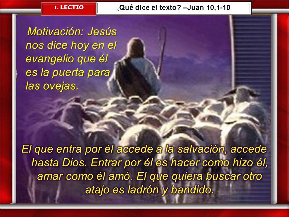 ¿Qué dice el texto –Juan 10,1-10