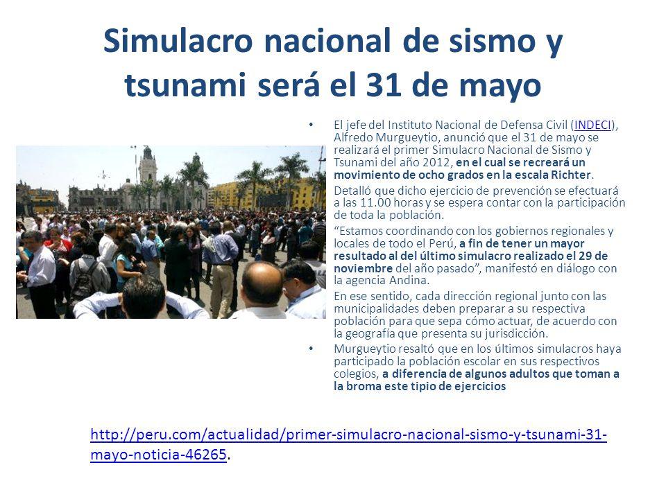 Simulacro nacional de sismo y tsunami será el 31 de mayo