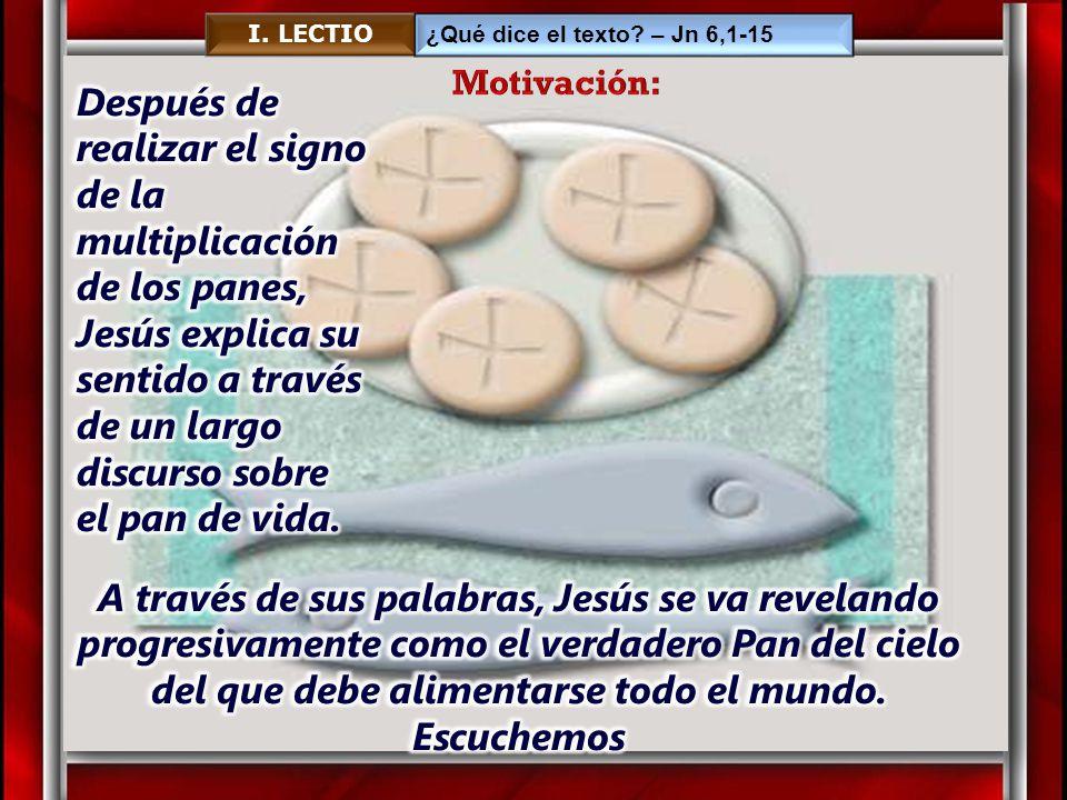 I. LECTIO ¿Qué dice el texto – Jn 6,1-15. Motivación:
