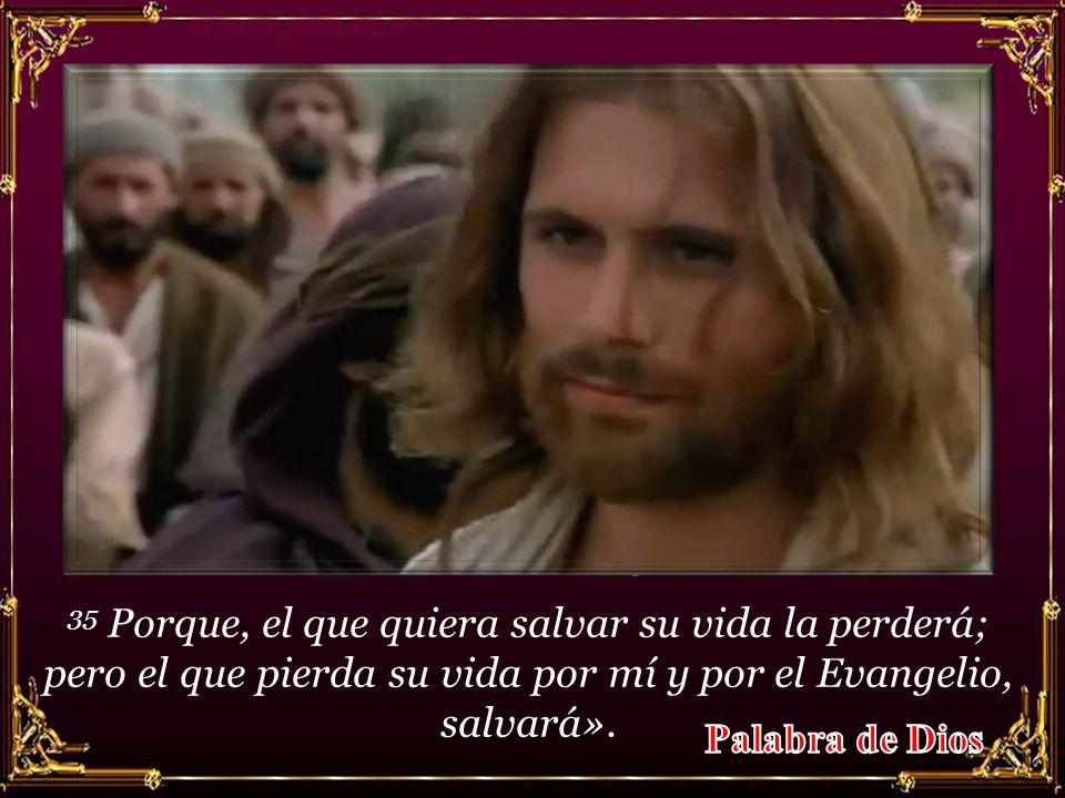 35 Porque, el que quiera salvar su vida la perderá; pero el que pierda su vida por mí y por el Evangelio, salvará».