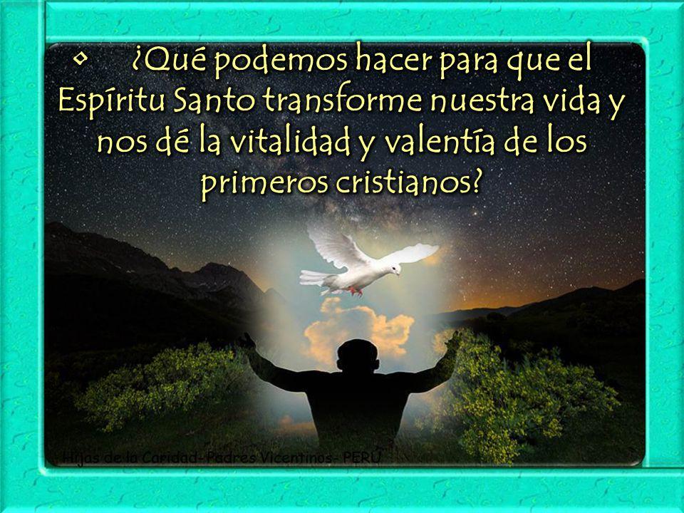 • ¿Qué podemos hacer para que el Espíritu Santo transforme nuestra vida y nos dé la vitalidad y valentía de los primeros cristianos