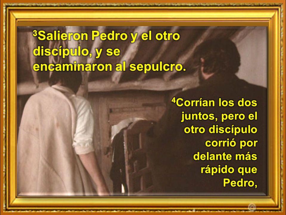 3Salieron Pedro y el otro discípulo, y se encaminaron al sepulcro.