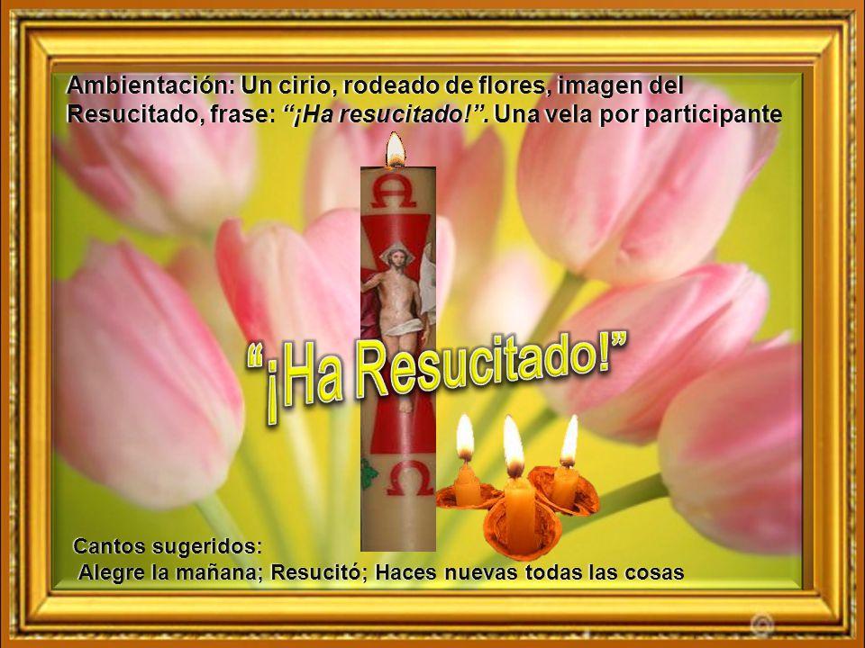 Ambientación: Un cirio, rodeado de flores, imagen del Resucitado, frase: ¡Ha resucitado! . Una vela por participante