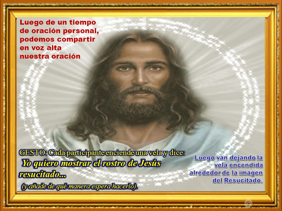 Yo quiero mostrar el rostro de Jesús resucitado...