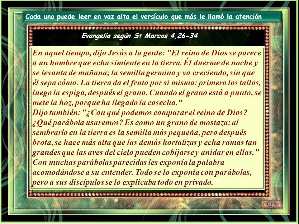 Evangelio según St Marcos 4,26-34