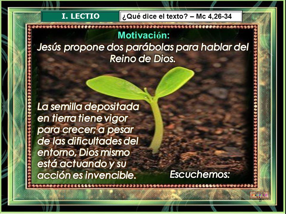 Jesús propone dos parábolas para hablar del Reino de Dios.