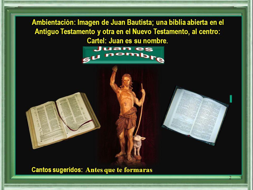 Ambientación: Imagen de Juan Bautista; una biblia abierta en el Antiguo Testamento y otra en el Nuevo Testamento, al centro: Cartel: Juan es su nombre.