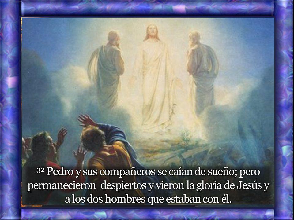 32 Pedro y sus compañeros se caían de sueño; pero permanecieron despiertos y vieron la gloria de Jesús y a los dos hombres que estaban con él.