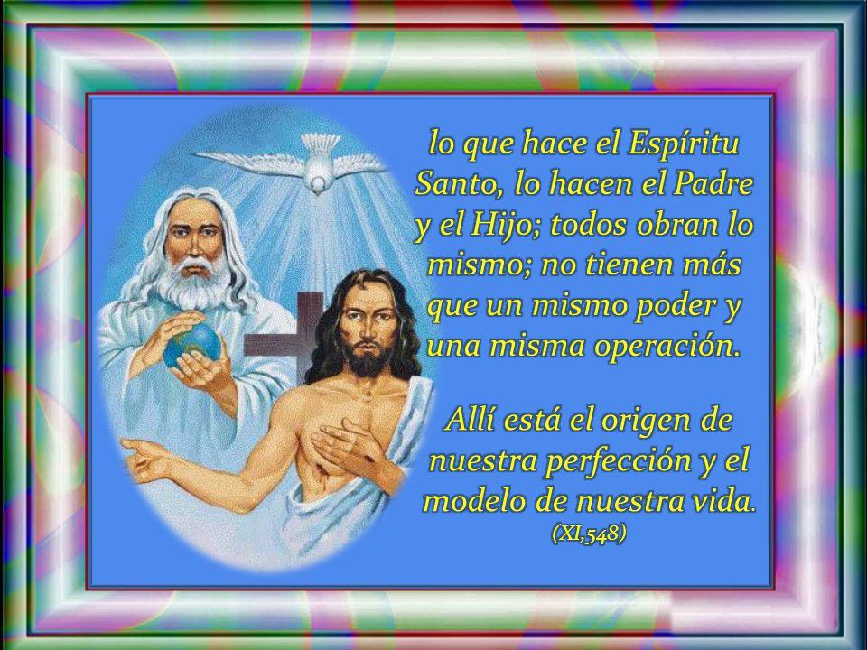 lo que hace el Espíritu Santo, lo hacen el Padre y el Hijo; todos obran lo mismo; no tienen más que un mismo poder y una misma operación.