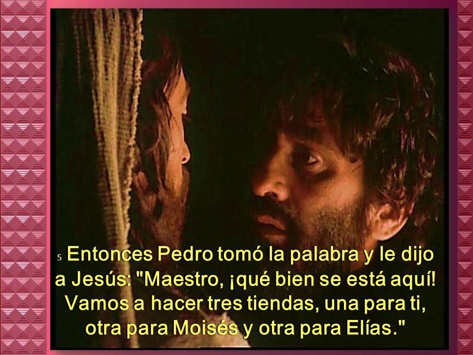 5 Entonces Pedro tomó la palabra y le dijo a Jesús: Maestro, ¡qué bien se está aquí.