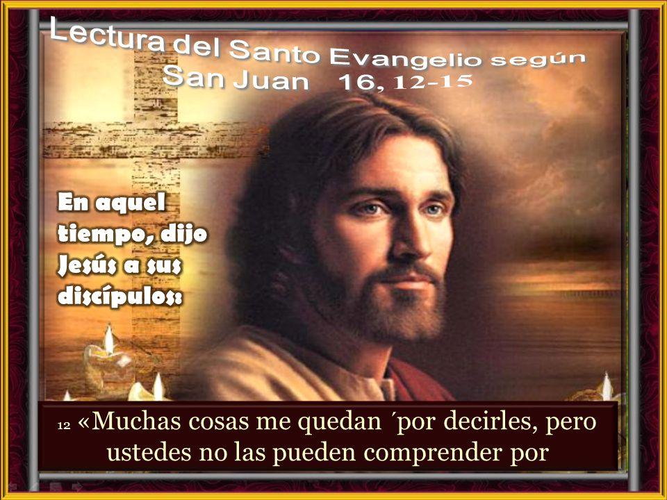 Lectura del Santo Evangelio según San Juan 16, 12-15