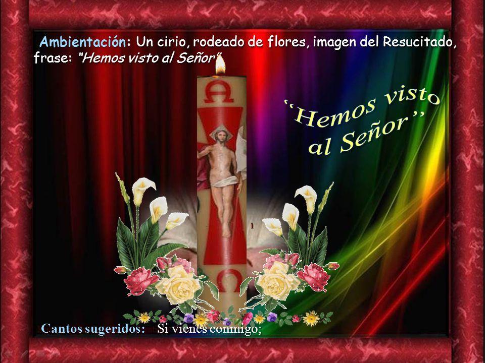 Ambientación: Un cirio, rodeado de flores, imagen del Resucitado, frase: Hemos visto al Señor