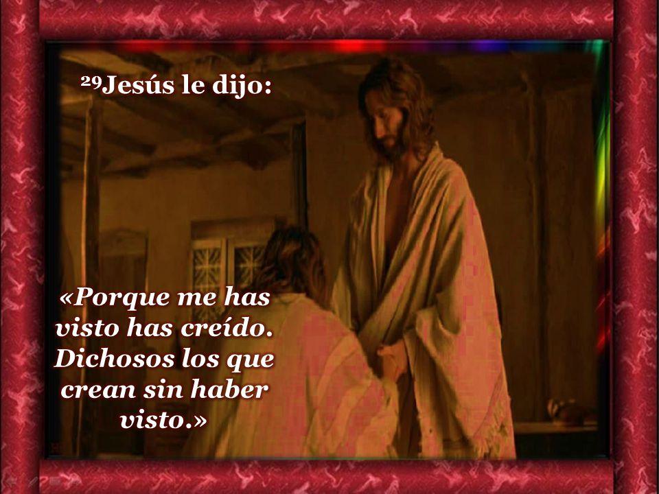 29Jesús le dijo: «Porque me has visto has creído. Dichosos los que crean sin haber visto.»