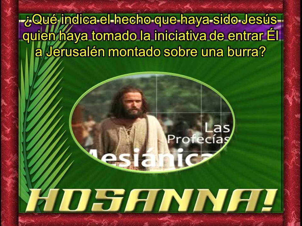 ¿Qué indica el hecho que haya sido Jesús quien haya tomado la iniciativa de entrar Él a Jerusalén montado sobre una burra