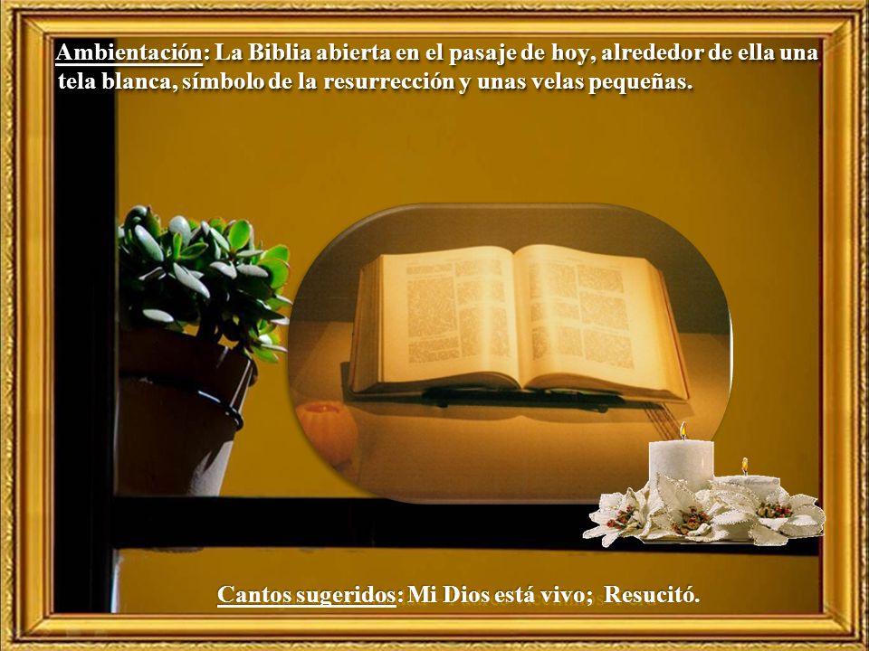 Ambientación: La Biblia abierta en el pasaje de hoy, alrededor de ella una tela blanca, símbolo de la resurrección y unas velas pequeñas.