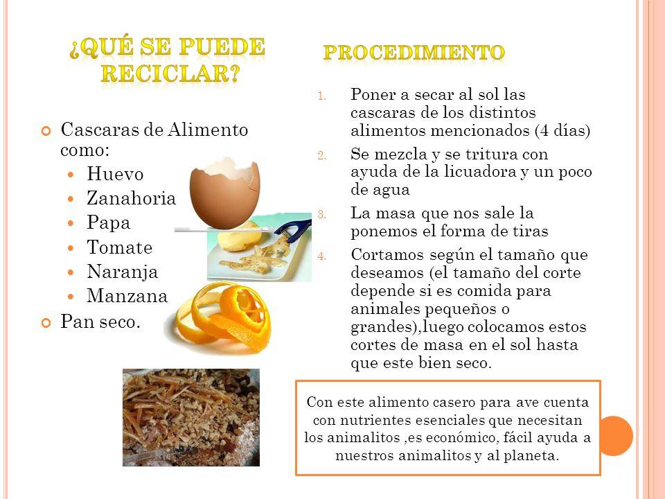¿Qué se puede reciclar Procedimiento Cascaras de Alimento como: Huevo