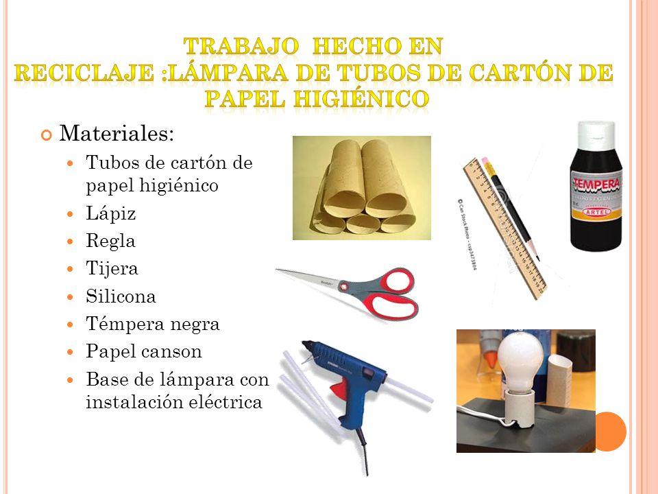 reciclaje :Lámpara de tubos de cartón de