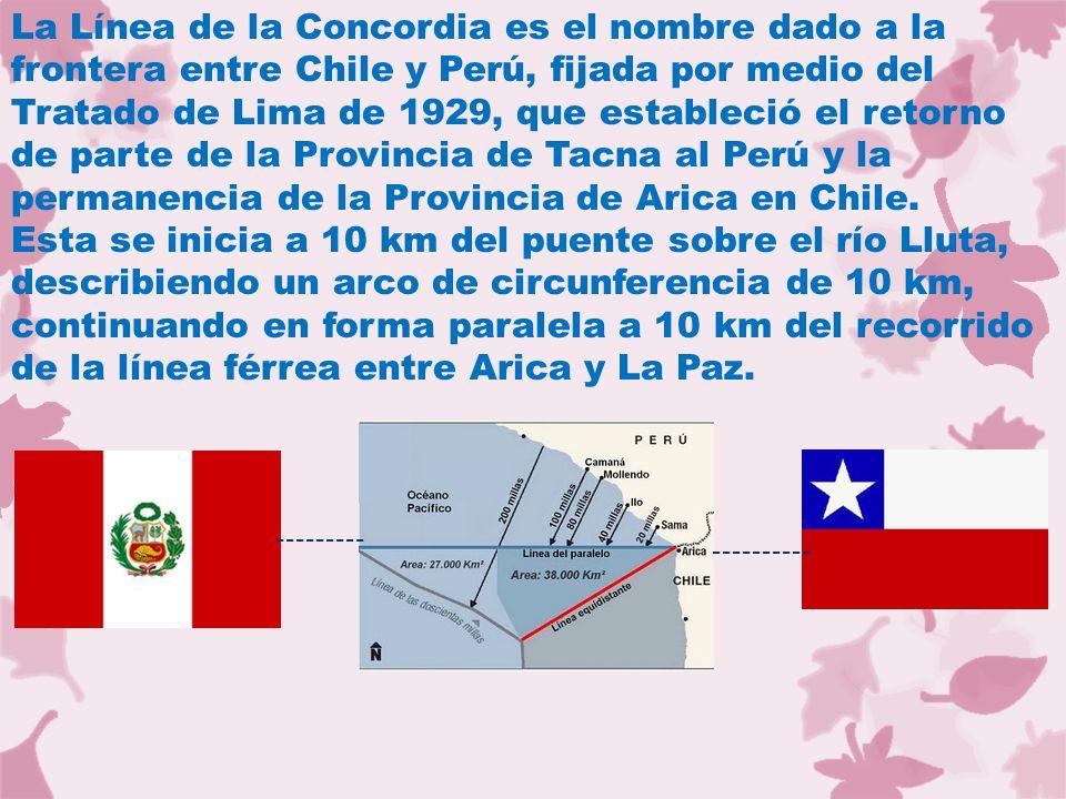 La Línea de la Concordia es el nombre dado a la frontera entre Chile y Perú, fijada por medio del Tratado de Lima de 1929, que estableció el retorno de parte de la Provincia de Tacna al Perú y la permanencia de la Provincia de Arica en Chile.