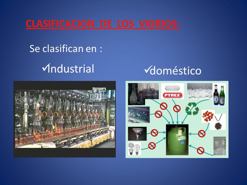 CLASIFICACION DE LOS VIDRIOS: