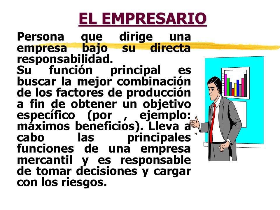 EL EMPRESARIO Persona que dirige una empresa bajo su directa responsabilidad.